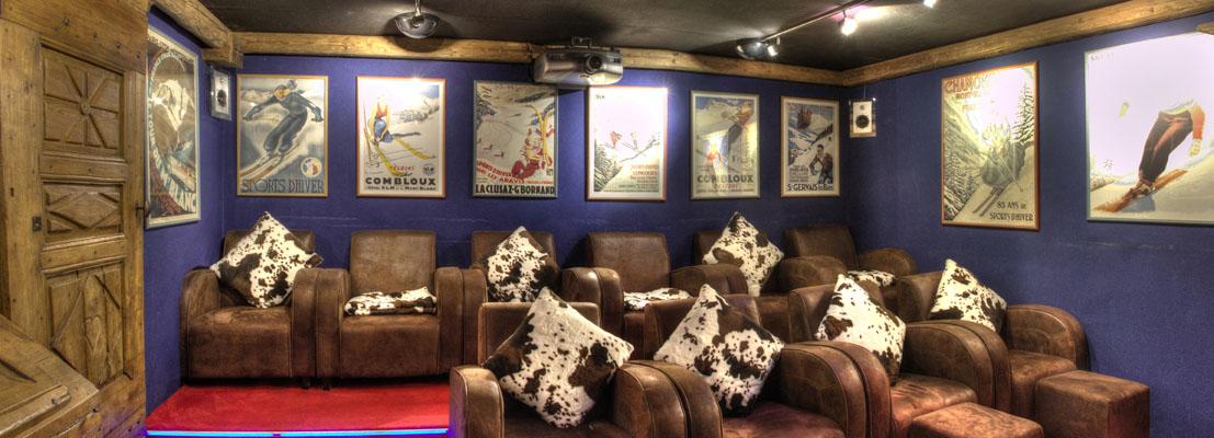 Salle privative de cinéma Chamonix- Hôtel Les Chalets de Philippe