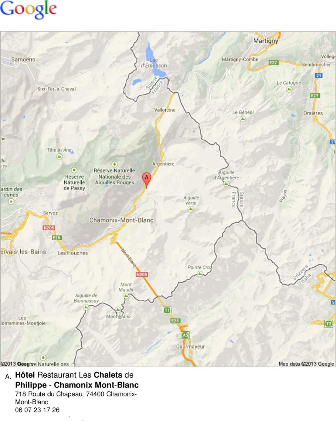 Plan Situation Chalets Chamonix - Hotel Les Chalets de Philippe