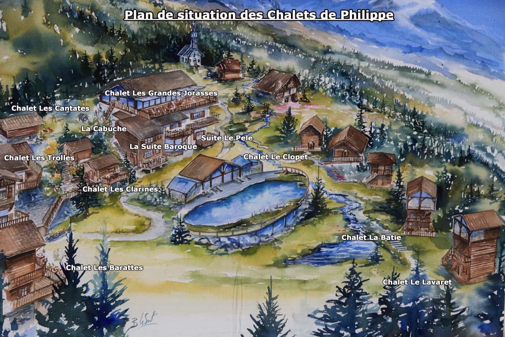 Plan situation chalets h tel les chalets de philippe chamonix mont blanc Les chalets de philippe chamonix
